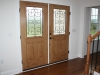Stained fiberglass entry door
